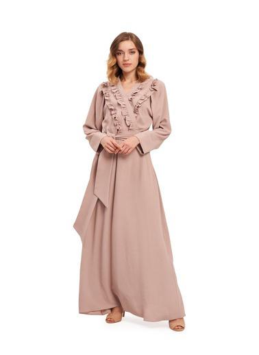 Mizalle Kruvaze Önü Fırfırlı Elbise Bej